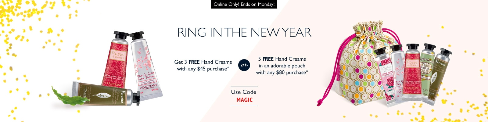 Receive a free 3-piece bonus gift with your $45 L'Occitane purchase