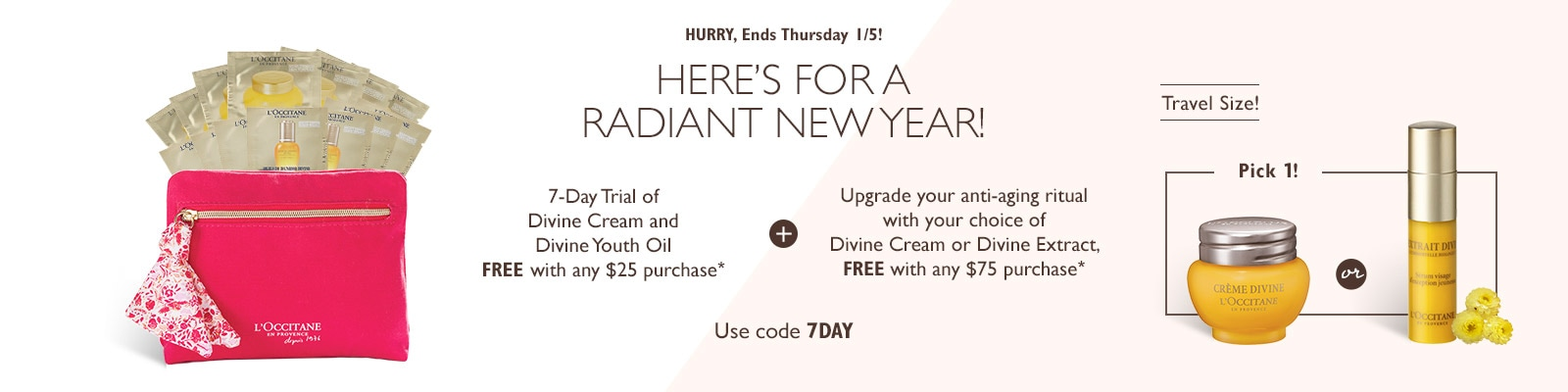 Receive a free 15-piece bonus gift with your $25 L'Occitane purchase