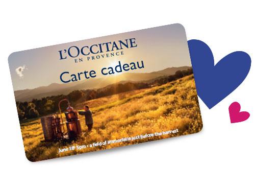 Les cartes cadeaux de l'Occitane