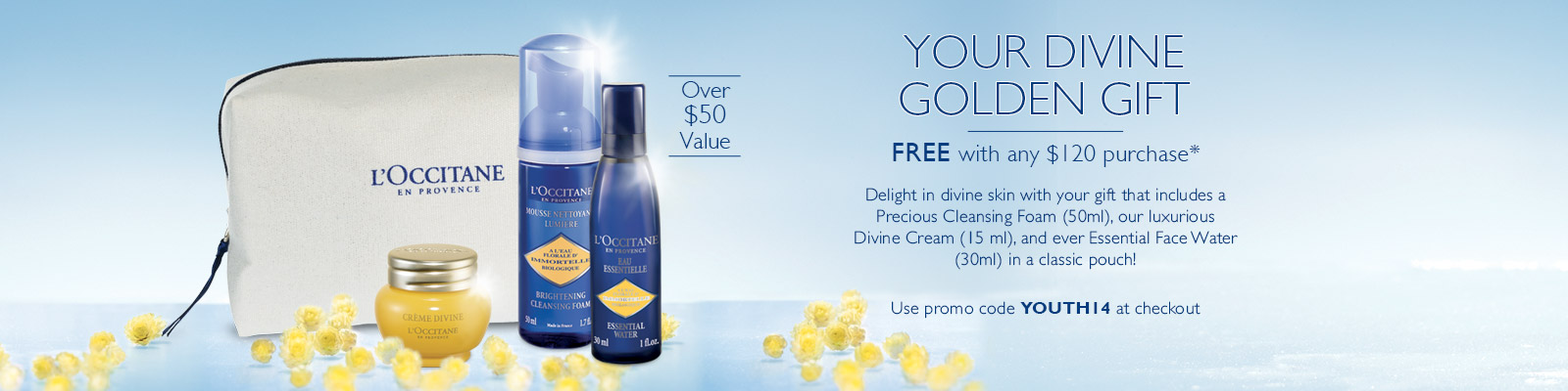Your divine golden gift. Delight in divine skin with your gift that includes a precious cleansing foam, our luxurious Divine cream, and ever essential face water in a classic pouch!