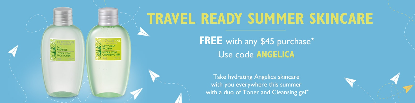 Travel Ready Summer Skincare Free with any $45 purchase.  Use code ANGELICA.