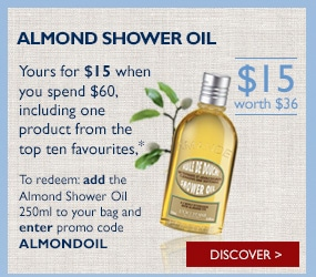 Almond shower oil (yours for $15 when you spend $60)