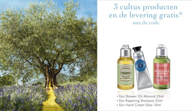3 cultus producten en de levering gratis - met de code WELKOMWEB - Een Shower Oil Almond 35ml - Een Repairing Shampoo 35ml - Een Hand Cream Shea 10ml