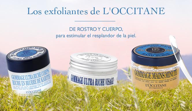 Los exfoliantes de L'OCCITANE De rostro y cuerpo, para estimular el resplandor de la piel.