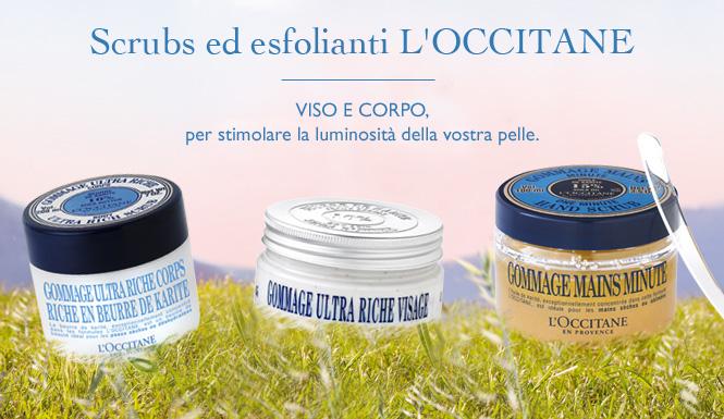 Scrubs ed esfolianti L'OCCITANE Viso e corpo, per stimolare la luminosità della vostra pelle.