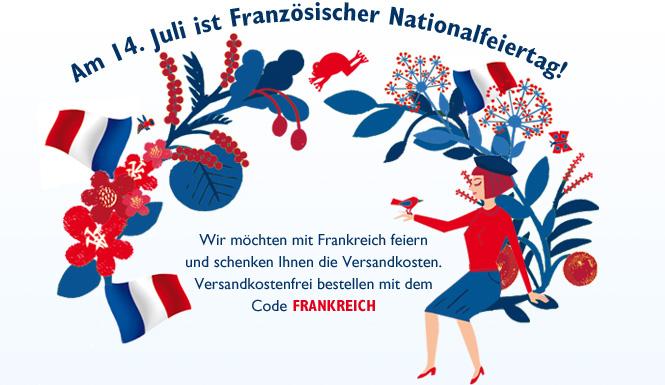 Wir möchten mit Frankreich feiern und  schenken Ihnen die Versandkosten. Versandkostenfrei bestellen mit dem Code FRANKREICH