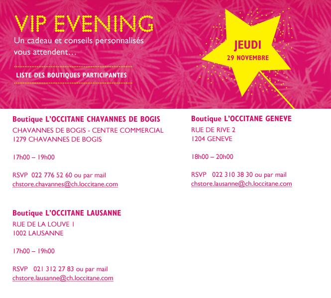 VIP Evening, un cadeau et conseils personnalisés vous attendent JEUDI 29 Novembre