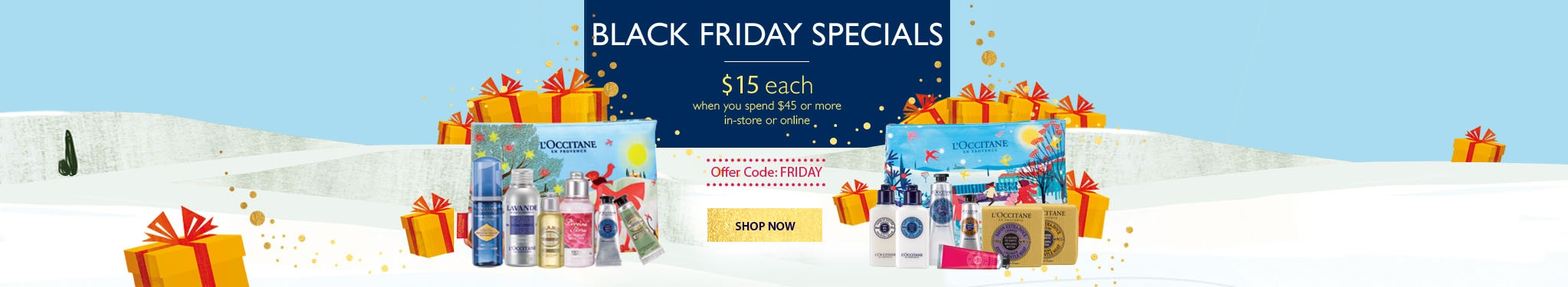 Black Friday Offers - $15 with any $45 purchase. Enter code: FRIDAY
