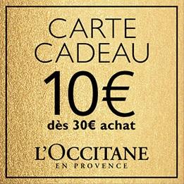 Carte cadeau 10€ dès 30€ d'achat