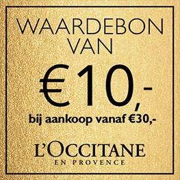Waardebon van  €10,- bij aankoop vanaf €30,-