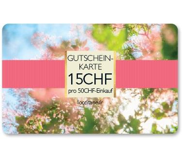 Gutschein-Karte 15CHF pro 50CHF-Einkauf