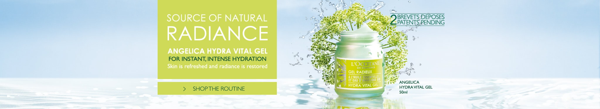Source Of Natural Radiance, Angelica Hydra Vital Gel for instant, intense hydration. Skin is refreshed and radiance is restored.