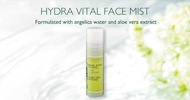 HYDRA VITAL FACE MIST! Formulated with angelica water and aloe vera extract.