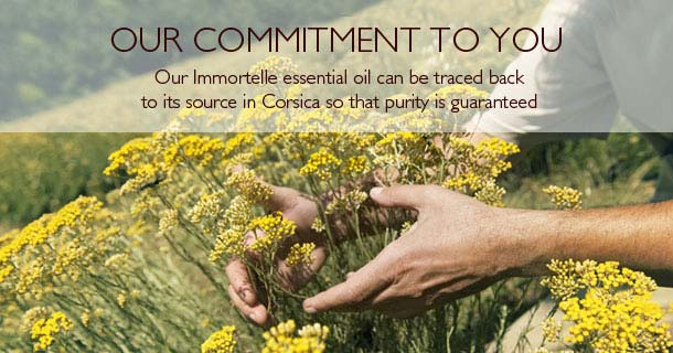Our Immortelle essential oil can be traced back to its source in Corsica so that purity is guaranteed