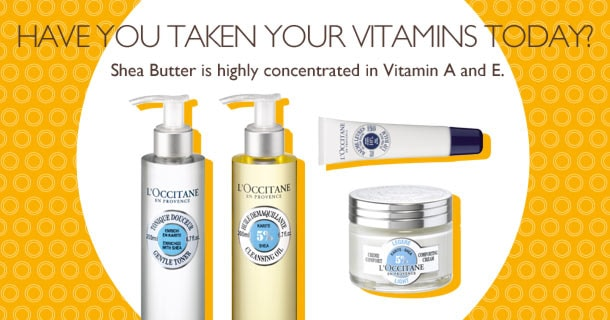 Shea Butter is highly concentrated in Vitamin A and E.