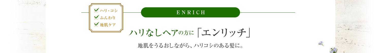 ENRICH ハリなしヘアの方に 「エンリッチ」地肌をうるおしながら、ハリコシのある髪に。