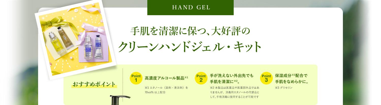 HAND GEL 手肌を清潔に保つ、大好評の クリーンハンドジェル・キット