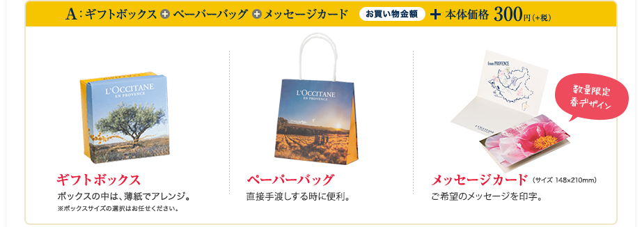 ギフトボックス+ペーパーバッグ+メッセージカード お買い物金額 + 本体価格 300円(+税)