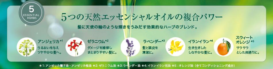 5つの天然エッセンシャルオイルの複合パワー 髪に天使の輪のような輝きをうみだす効果的なハーブのブレンド。